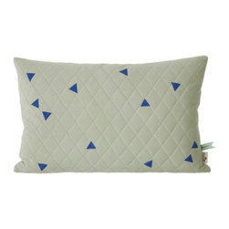 Teepee Quilted Cushion , Sage - Add softness to the kids rooms with our delicate range of quilted jersey cushions. They come in fine colours with hand printed teepee triangles. They are made of 100% organic jersey.