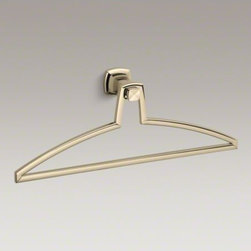 KOHLER - KOHLER Margaux(R) valet - Margaux combines traditional, elegant lines with contemporary touches. This sleek metal valet offers a convenient hanging place for robes or garments, and reflects the classic style of Margaux faucets and accessories.
