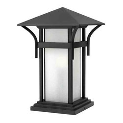 Hinkley - Hinkley 2576SK Harbor 1 Light Pier Outdoor Flush Mount in Satin Black 2576SK - Harbor has an updated nautical feel, with a style inspired by the clean, strong lines of a welcoming lighthouse. The cast aluminum and brass construction is accented by bold stripes against the seedy glass.One 100w Medium Base Bulb sold separatelyADA Compliant: No Bulb Type: Incandescent Collection: Harbor Dark Sky: No Energy Star Compliant: No Finish: Satin Black Glass: Etched Seedy Bound Panels Height: 17 Installation: Wet Locations Material: Brass and Aluminum Max Wattage: 100 Number of Lights: 1 Outdoor Listed: Yes Safety Rating: c-UL-us Wet Socket 1 Base: MEDIUM Socket 1 Max Wattage: 100 Style: Nautical Voltage: 120 Weight: 10 lbs Width: 11 Wire: 6