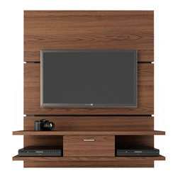 Manhattan Comfort - Ellington 1.0 Entertainment Center, Mocha - The Ellington 1.0 TV stand offers an organized space for your TV and accessories. The Ellington comes with built-in brackets to conveniently hang your TV without damaging the walls. One center drawer with aluminum handle can hold miscellaneous items for a neater look. The 1.1 inch surface can be filled with pictures or flower vases, or left empty to allow the TV to be the center of the room. Built for a 70 inch flat screen TV, the Ellington finishes with a Pro-Touch High definition, ultra-resistant finish with the texture of natural wood, and stylish wood patterns. The unique paint is protected by the Microban Antibacterial Protection.