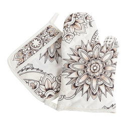 Sin in Linen - Henna Tattoo Oven Mitt and Potholder Set - Bring the spice of the middle east into your home with this henna tattoo print.