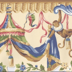 York Wallcoverings - Brown Cream Circus Monkeys Wallpaper Border - Wallpaper borders bring color, character and detail to a room with exciting new look for your walls - easier and quicker then ever.