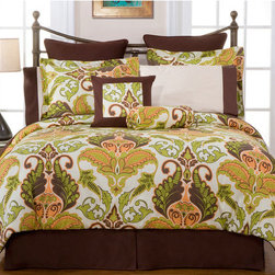 """Pointehaven - Hannah 12-Piece Bedding Ensemble - Features: -Available in full, queen, king, or cal king sizes. -Luxury sizes for comfort and suitable for pillowtop mattreses. -Colors: Brown/Sage/Orange. -Hannah Full 12 pc Ensemble Includes: 1 Comforter, 2 Shams, 1 Bed Skirt, 2 Dec. Pillows, 2 Euro Shams, 1 flat sheet, 1 fitted sheet, 2 PCs. -Hannah Queen 12 pc Ensemble Includes: 1 Comforter, 2 Shams, 1 Bed Skirt, 2 Dec. Pillows, 2 Euro Shams, 1 flat sheet, 1 fitted sheet, 2 PCs. -Hannah King 12 pc Ensemble Includes: 1 Comforter, 2 Shams, 1 Bed Skirt, 2 Dec. Pillows, 2 Euro Shams, 1 flat sheet, 1 fitted sheet, 2 PCs. -Hannah Cal King 12 pc Ensemble Includes: 1 Comforter, 2 Shams, 1 Bed Skirt, 2 Dec. Pillows, 2 Euro Shams, 1 flat sheet, 1 fitted sheet, 2 PCs. -Bedding, Pillows and Sheet Set: 100% Cotton fabric. -Ensemble features oversized pillows made of 100% cotton filled with 100% Polyster fibers. -Sheet is 300 thread count and 100% cotton and fitted sheet has elastic all around. -Sateen Printed Fabric. -Washing Instructions: Comforter and Shams: Dry Clean Only. Bed Skirt and Sheet Set: Machine washable in warm water with like colors. Do not bleach. Pillows: Spot Clean Only. Specifications: -Full set: Comforter: 84""""x90"""" - Sham: 20""""x26"""" + 2"""" Flange, bed skirt: 54""""x75"""" + 15"""" drop, 1 Euro Sham: 26""""x26"""",1 Rd. Pillow: 7""""x16"""",1 Dec. Pillow: 18""""x18"""", 1 Flat Sheet: 81""""x94"""", 1 Fitted Sheet: 54""""x75""""+15"""" (fits 18"""" mattress), 2 Std P/Cs: 20""""x30"""". -Queen set: Comforter: 92""""x96"""" - Sham: 20""""x26"""" + 2"""" Flange, bed skirt: 60""""x80"""" + 15"""" drop, 1 Euro Sham: 26""""x26"""",1 Rd. Pillow: 7""""x16"""",1 Dec. Pillow: 18""""x18"""", 1 Flat Sheet: 90""""x104"""", 1 Fitted Sheet: 60""""x80""""+15"""" (fits 18"""" mattress), 2 Std P/Cs: 20""""x30"""". -King set: Comforter: 110""""x96"""" - Sham: 20""""x36"""" + 2"""" Flange, bed skirt: 78""""x80"""" + 15"""" drop, 1 Euro Sham: 26""""x26"""",1 Rd. Pillow: 7""""x16"""",1 Dec. Pillow: 18""""x18"""", 1 Flat Sheet: 108""""x104"""", 1 Fitted Sheet: 78""""x80""""+15"""" (fits 18"""" mattress), 2 King P/Cs: 20""""x40"""". -Cal King set: Comforter: 110""""x96"""" -"""
