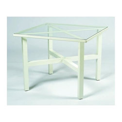 Woodard - 36 in. Elite Square Umbrella Table - Clear Glass - All products are made to order. Orders cannot be cancelled after 5 calendar days. If order is cancelled after 5 calendar days, a 50% restocking fee will be applied. Aluminum frame. 36 in. D x 36 in. W x 28.5 in. H