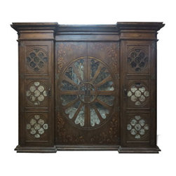 Old World Tuscan Mirror Entertainment Center, Fresco Brown Distressed - Old World Tuscan Mirror Entertainment Center, Fresco Brown Distressed W/ Gold Scrolls
