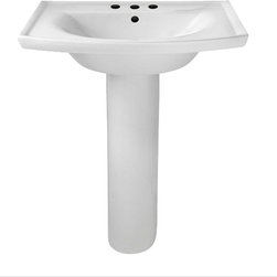 "American Standard - American Standard 0404.800.020 Tropic Grande Pedestal Sink, White - American Standard 0404.800.020 Tropic Grande Pedestal Sink, White. This grand pedistal sink set features a vitreous china construction, a contemporary style, a rear overflow, a faucet ledge with large deck area, a flat-bottomed basin, and an included mounting kit. This model comes with 8"" centered faucet mounting holes, and it measures 27"" by 21"", with a bowl depth of 6""."
