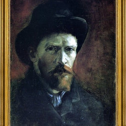 """Vincent Van Gogh-18""""x24"""" Framed Canvas - 18"""" x 24"""" Vincent Van Gogh Self Portrait in a Dark Felt Hat framed premium canvas print reproduced to meet museum quality standards. Our museum quality canvas prints are produced using high-precision print technology for a more accurate reproduction printed on high quality canvas with fade-resistant, archival inks. Our progressive business model allows us to offer works of art to you at the best wholesale pricing, significantly less than art gallery prices, affordable to all. This artwork is hand stretched onto wooden stretcher bars, then mounted into our 3"""" wide gold finish frame with black panel by one of our expert framers. Our framed canvas print comes with hardware, ready to hang on your wall.  We present a comprehensive collection of exceptional canvas art reproductions by Vincent Van Gogh."""