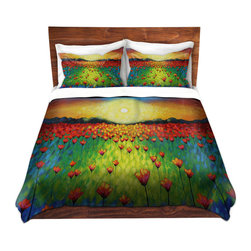 DiaNoche Designs - Duvet Cover Microfiber by John Nolan - Sunburst Poppies - DiaNoche Designs works with artists from around the world to bring unique, artistic products to decorate all aspects of your home.  Super lightweight and extremely soft Premium Microfiber Duvet Cover (only) in sizes Twin, Queen, King.  Shams NOT included.  This duvet is designed to wash upon arrival for maximum softness.   Each duvet starts by looming the fabric and cutting to the size ordered.  The Image is printed and your Duvet Cover is meticulously sewn together with ties in each corner and a hidden zip closure.  All in the USA!!  Poly microfiber top and underside.  Dye Sublimation printing permanently adheres the ink to the material for long life and durability.  Machine Washable cold with light detergent and dry on low.  Product may vary slightly from image.  Shams not included.