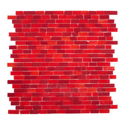 "Glass Tile Oasis - Red Random Bricks Red Bathroom Glossy Glass - Sheet size:  12 1/2"" x 13 1/2""        Tile Size:  Random Bricks        Tiles per sheet:  264        Tile thickness:  1/8""        Grout Joints:  1/8""        Sheet Mount:  Mesh Backed        NOTE: Iridescent colors not recommended for water line applications in pools/spas    Sold by the sheet     -  Bring bold  dazzling style to any space with Victorian  a collection made from vibrant stained glass. This series stands out for its beautiful patterns and meticulous attention to detail. The mesh-backed tiles come in varying sizes depending on the design  and they are suitable for variety of interior and outdoor spaces."