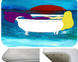 "usa - Blond Bath Tub Mermaid Bath Mat,  30"" X 20"" - Bath mats from my original art and designs. Super soft plush fabric with a non skid backing. Eco friendly water base dyes that will not fade or alter the texture of the fabric. Washable 100 % polyester and mold resistant. Great for the bath room or anywhere in the home. At 1/2 inch thick our mats are softer and more plush than the typical comfort mats. Your toes will love you."