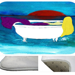 """usa - Blond Bath Tub Mermaid Bath Mat,  30"""" X 20"""" - Bath mats from my original art and designs. Super soft plush fabric with a non skid backing. Eco friendly water base dyes that will not fade or alter the texture of the fabric. Washable 100 % polyester and mold resistant. Great for the bath room or anywhere in the home. At 1/2 inch thick our mats are softer and more plush than the typical comfort mats. Your toes will love you."""