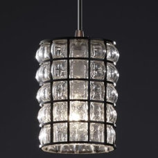Pendant Lighting Wire Glass Clear Grid Mini Pendant by Justice Design
