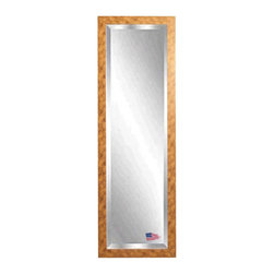 Rayne Mirrors - American Made Gold Stone 19 x 58 Slender Beveled Body Mirror - This contemporary gold stone tall mirror features marbled copper accents and a sleek flat design, presenting a fresh modern feel to this classic piece.  Each Rayne mirror is hand crafted and made to order with American products.  All hardware included for vertical or horizontal hanging, or perfect to lean against a wall.