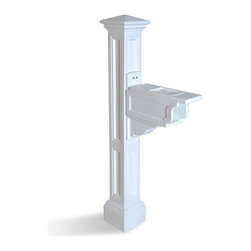 Mayne Inc. - Charleston Plus Mail Post White - The Charleston Plus shares the stately look of our Liberty mail post, but in a slightly smaller scale.  This post has quickly become a favorite. Installs easily over a standard  4x4 wood post. Mayne plastic mail posts are made from high quality polyethylene with built in UV inhibitors for long lasting protection from the elements. Includes decorative post and mailbox support arm with paper holder. Medium mailbox recommended, minimum 6 1/4 inch width (paper holder mounting surface measures 6.125in W x 17in L), best suited for mailboxes weighing less than 14lbs. Note: 4x4 wood post, mailbox, and mailbox mounting hardware NOT included. Optional Mayne No-Dig Ground Screw available.