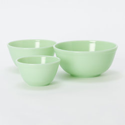 Milk Glass Mixing Bowl Set, Jadeite, Set of 3 - Pretty jade bowls make mixing more fun.