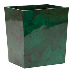 """Pigeon & Poodle - Pigeon & Poodle Palm Beach Jade Rectangle Wastebasket - Pigeon & Poodle's Palm Beach rectangle wastebasket pairs coastal style and Art Deco-inspired flair. Crafted from emerald shell pieces, this accessory dazzles with visual intrigue. 10""""W x 8""""D x 11""""H; Due to handmade quality, natural variations may occur"""