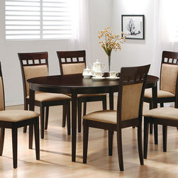 "Coaster - Mix & Match 7 Pcs Oval Dining Set With Cushion Back Chairs - This lovely dining table will be the perfect addition to your casual contemporary home. The simply styled piece has a smooth oval shaped table top above sleek square tapered legs. The table has a leaf, shown here extended, to change the top from a 42 inch diameter circle to a 60 inch long oval, so you can accommodate dinner guests. Available in a Cappuccino finish to complement your decor, and with different chair options to suit your taste, this table will complete your casual dining ensemble. Pair with any chair from this collection for a harmonious look that you will love. 18"" Extension Leaf; Fabric Cushion Seats; Cappuccino Finish; Casual Style; Set Includes: Dining Table, 6 Chairs. Dining Table: 42""-60""L X 42""W X 30""H; Cushion Back Chair: 20.50""L X 17""W X 36.75""H; Seat Height: 19""; Seat Depth: 16.50""."