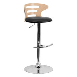 Flash Furniture - Beech Bentwood Adjustable Bar Stool with Black Vinyl Seat and Cutout Back - Beautiful and elegant describe the bentwood style barstool that's accented with cutout slats for a contemporary flair. This stool is complemented with a comfortable vinyl padded seat and a height adjustable swivel seat that adjusts from counter to bar height with the handle located below the seat. The base and footrest have a chrome finish to complement the chair's modern design.