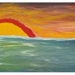 """Bright Days Original Painting By Itso Art"" (Original) By Richard  Olivarez - This Is My Interpretation Of A Fall Sunset Over The Choctawhatchee Bay In Destin, Florida.  The Sky Seemed To Be On Fire And The Darkness Quickly Followed The Sun'S Retreate."