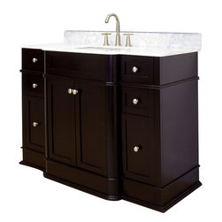 American Imaginations - 50-in. W x 22-in. D Traditional Birch Wood-Veneer Vanity Set - This traditional vanity set belongs to the exquisite Granicus design series. It features a rectangle shape. This vanity set is designed to be installed as an floor mount vanity set. It is constructed with birch wood-veneer. It is designed for a 8-in. o.c. faucet. The top features a 0.75-in. profile thickness. This vanity set comes with a lacquer-stain finish in Dark Mahogany color. Four mid-sized and two large full extension drawers with dove-tail joints This Vanity Set features Brushed Nickel hardware. Includes a white rectangle undermount sink. No assembly required. Faucet and accessories not included