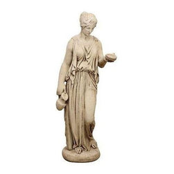 Pre-owned Cast Stone Garden Figure - Hebe - A Continental cast stone garden figure of Hebe. She is quite beautiful and is completely intact. In Greek mythology, Hebe was the goddess of youth. She is the daughter of Zeus. Hebe was the cup-bearer for the gods and goddesses of Mount Olympus, serving nectar and ambrosia, until she married Hercules.