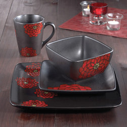American Atelier - American Atelier Asiana Red 16-piece Dinnerware Set - Enjoy this 16-piece dinnerware set with your family and friends. Constructed of ceramic and finished with black and red glazed flowers,this causal dish set includes dinner and salad plates,soup bowls,and mugs.