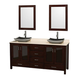 Wyndham Collection - Eco-Friendly Ivory Marble Top Bathroom Vanity - Includes natural stone counter, backsplash, two countertop vessel sinks and matching mirrors. Faucets not included. Four doors and six drawers. Engineered to prevent warping and last a lifetime. Highly water-resistant low V.O.C. finish. 12-stage wood preparation, sanding, painting and finishing process. Floor standing vanity. Deep doweled drawers. Fully extending side-mount drawer slides. Soft-close doors. Concealed door hinges. Single hole faucet mount. Plenty of storage space. Metal hardware with brushed chrome finish. Black granite sinks. Made from zero emissions solid oak hardwood. Espresso finish. Vanity: 72 in. W x 22.75 in. D x 35 in. H. Mirror: 24 in. L x 33 in. H. Handling Instructions. Assembly Instructions - Countertop. Assembly Instructions - Mirror. Assembly Instructions - SinkContemporary but practical design. The modern design puts a visual emphasis on clean lines, luxurious natural marble, abundant storage for two, and is at home in almost every bathroom decor. You'll never hear a door slam shut again!