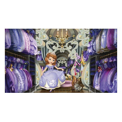 RoomMates Peel & Stick - Sofia's Closet Chair Rail Prepasted Mural - Play dress up in Sofia's closet with this Sofia's closet XL wallpaper mural