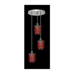 Elegant Lighting - Mini Bordeaux Crystal Pendant w 3 Lights in Chrome (Royal Cut) - Choose Crystal: Royal Cut. 3 ft. Chain/Wire Included. Bulbs not included. Crystal Color: Bordeaux (Red). Chrome finish. Number of Bulbs: 3. Bulb Type: GU10. Bulb Wattage: 55. Max Wattage: 165. Voltage: 110V-125V. Assembly required. Meets UL & ULC Standards: Yes. 9 in. D x 8 to 48 in. H (9lbs.)Description of Crystal trim:Royal Cut, a combination of high quality lead free machine cut and machine polished crystals & full-lead machined-cut crystals..SPECTRA Swarovski, this breed of crystal offers maximum optical quality and radiance. Machined cut and polished, a Swarovski technician¢s strict production demands are applied to this lead free, high quality crystal.Strass Swarovski is an exercise in technical perfection, Swarovski ELEMENTS crystal meets all standards of perfection. It is original, flawless and brilliant, possessing lead oxide in excess of 39%. Made in Austria, each facet is perfectly cut and polished by machine to maintain optical purity and consistency. An invisible coating is applied at the end of the process to make the crystal easier to clean. While available in clear it can be specially ordered in a variety of colors.Not all trims are available on all models.