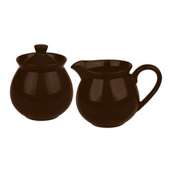 Waechtersbach - Creamer and Sugar Set Fun Factory Chocolate - Complete your coffee or tea service with this Fun Factory Chocolate Brown Sugar and Creamer. With their vibrant color and contemporary shape, these must-have kitchen accessories will look lovely on your table. Sugar bowl includes lid.