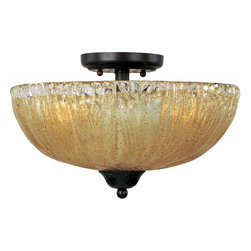 Joshua Marshal - Three Light Oil Rubbed Bronze Amber Ice Glass Bowl Semi-Flush Mount - Three Light Oil Rubbed Bronze Amber Ice Glass Bowl Semi-Flush Mount