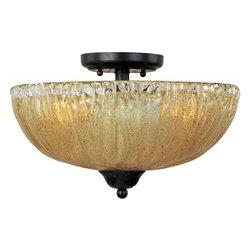 Joshua Marshal - Three Light Oil Rubbed Bronze Amber Ice Glass Bowl Semi-Flush Mount - Three Light Oil Rubbed Bronze Amber Ice Glass Bowl Semi-Flush Mount
