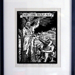 Odin's Oak Brown Ale (Original) by John Beckmann - This is a woodcut of a beer recipe called Odin's Oak Brown Ale. Printed on Mulberry eastern paper with daniel smith black ink. This print comes with the frame ready to hang. Special ARTtwo50 edition of 25 prints.