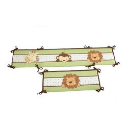 Little Bedding by NoJo Jungle PalsTraditional Padded Bumper - Cuddly, cute, and ever protective, the friends on the Little Bedding by NoJo Jungle Pals Traditional Padded Bumper will keep your infant safe inside his or her crib. Decorated with a friendly lion, giraffe, and monkey, this four-piece bumper is made of a polyester and cotton blend, and is designed to fit most standard-sized cribs.About NoJoOffering fashionable, safe, and reliable products throughout the United States for the past 40 years, NoJo's goal is to offer fashion-forward infant and toddler bedding, blankets, and accessories that meet the demands of today's modern lifestyle. NoJo puts not only style into their products, but comfort and safety, too.