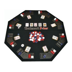 Trademark Poker - Texas Hold'em Folding Table Top & 300 Poker C - Comes with carrying case with front pouch for bringing along the chips, 2 decks of cards, dealer button and blind buttons. 300 casino style poker chips: 100 blue, 100 red, 100 white. 48 in. Folding table top. 24 in. L x 24 in. W x 4 in H (26 lbs.)
