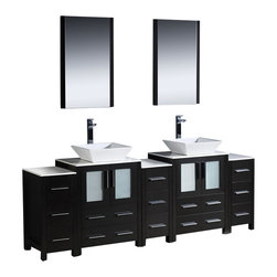 Fresca - Torino 84 in. Modern Double Bathroom Vanity w Vessel Sinks (Tolerus Chrome) - Choose Included Faucet: Tolerus ChromeP-traps, Faucets, Pop-Up Drains and Installation Hardware Included. Single Hole Vessel Faucet Mounts (Faucets Shown In Picture May No Longer Be Available So Please Check Compatible Faucet List). No overflow. Sink Color: White. Finish: Espresso. Sink Dimensions: 16 in. x16 in. x5 in. . Mirror: 20.75 in. W x 31.5 in. H x 1.25 in. D. Materials: Plywood w/ Veneer, Ceramic Sinks. Vanity: 84 in. W x 18.13 in. D x 35.63 in. HFresca is pleased to usher in a new age of customization with the introduction of its Torino line. The frosted glass panels of the doors balance out the sleek and modern lines of Torino, making it fit perfectly in either Town or Country decor. Available in the rich finishes of Espresso, Glossy White and Light Oak, all of the vanities in the Torino line come with either a ceramic vessel bowl or the option of a sleek modern ceramic undermount sink.