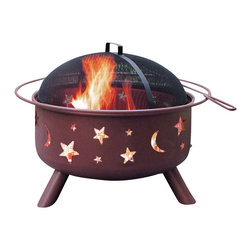 Landmann - Firepit w Stars & Moon - Georgia Clay Finish - Large bowl fire pit has cut outs of moons and stars plus a Georgia red clay finish.  Steel construction is easily assembled and there's a spark guard screen cover and a poker included.  Three legs and a halo handle around the outer edge. * Unique and stylish decorative cutouts create an incredible ambiance at night. Sturdy steel construction designed for easy assembly. Offers 360° viewing of the fire. Full-size enamel cooking grate included. Large 23.5 in. diameter bowl. Full-diameter handle. Spark guard cover and poker included. Georgia Clay color. Sand paint finish. Weather cover available. Bowl Diameter: 23.5 in.. 29.5 in. L x 29.5 in. W x 23 in. H