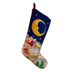 Night Before Christmas Holiday Stocking - This precious hand-stitched Needlepoint Night Before Christmas Holiday Stocking represents a timeless tradition. A beautiful treasure to adore and pass down.