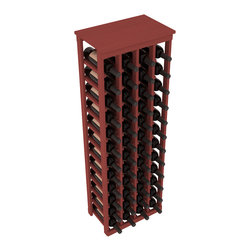 """Wine Racks America - 48 Bottle Kitchen Wine Rack in Ponderosa Pine, Cherry Stain - Store 4 complete cases of wine in less than 20"""" of wall space. Just over 4 feet tall, this narrow wine rack fits perfectly in hallways, closets and other """"catch-all"""" spaces in your home or den. The solid wood top serves as a shelf or table top for added convenience and storage of nick-nacks."""