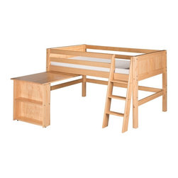 Camaflexi - Camaflexi Panel Headboard Low Loft Bed with Retractable Desk - C421DNT - Shop for Bunk Beds from Hayneedle.com! A smart multi-tasker the Camaflexi Panel Headboard Low Loft Bed with Retractable Desk makes the most of your child's bedroom space. The low loft design frees up floor space underneath and this one includes a handy retractable desk. The hideaway desk attaches to the frame of the bed and slides in or out on its easy glide track system. The loft and desk are constructed entirely of solid wood and the loft bed comes equipped with front and rear guard rails. The slat roll foundation with a unique center rail support system don't need a box spring simply a mattress. The classic design and quality child-safe protective finish options make it stylish and durable. The ladder features grooved steps for extra safety. About CamaflexiCamaflexi designs furniture that grows with your children. They offer safety durability and beautiful furniture designs that you and your children will love. Camaflexi is a proud member of the sustainable furnishings council. All Camaflexi beds are made of solid wood and built to stand the test of time. They are all tested and certified to meet all government and industry safety standards. Camaflexi ladders and steps are extra wide to be safer for your children. Camaflexi creates furniture for growing children.