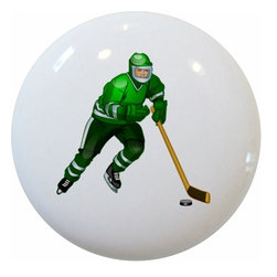 Carolina Hardware and Decor, LLC - Green Hockey Player Ceramic Knob - 1 1/2 inch white ceramic knob with one inch mounting hardware included.  Great as a cabinet, drawer, or furniture knob.  Adds a nice finishing touch to any room!