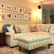 Transitional Family Room by New South Design, LLC