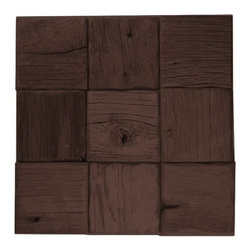 """E&S - Reclaimed Wood Tile - 4""""x4"""" Collin Straight Stack, Gunstock, 1 Square Foot - We are proud to offer reclaimed Barnwood Wall Planks. Leading interior designers have indicated that while everyone loves the look of barnwood in the home, the material is incredibly hard to work with in its natural state.  One of the hardest challenges of getting Barnwood on the wall has always been the intense amount of labor it takes to get 100 year old wood to look good on the wall.  Barnwood Wall Planks are a simple wood panel solution to achieve an incredible look!  Installed just like your regular tile, this great wood panel product offers the opportunity to create a Barnwood Plank wall at an affordable price.  They come ready for immediate installation!"""