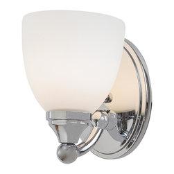 Minka Lavery - Minka Lavery 5841-77 Taylor Chrome 1 Light Bathroom Wall Sconce - Etched Opal Glass Shade