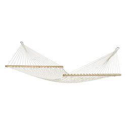 Home Decorators Collection - Virginia Ecru Double Hammock with Bar - Our Virginia Ecru Double Hammock with Bar offers you all the space you need to stretch out or snuggle in with a loved one. This cozy cotton hammock is soft and stylish. 100% cotton with spreader bars. Fits our Scandinavian Spruce Double Hammock Stand, sold separately. Can also be hung using our Hammock Hardware Kit, sold separately.