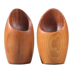 EcoFirstArt - Pair Rude Osolnik Candle Holders - Sculptural and sleek, these candleholders bring refinement to any table in your home. Own a piece of American art history when you nab these collector's items, made by famous midcentury wood turner Rude Osolnik. These shapely candleholders are constructed from sustainably sourced wood, and will bring natural beauty to your decor.