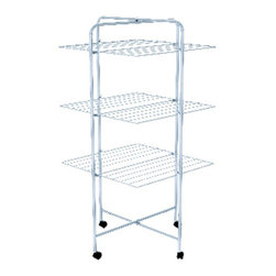 Hills - Hills Trident 3 Mobile Clothes Drying Rack - FE209464 - Shop for Drying Racks from Hayneedle.com! Free yourself from the whims of the weather with the Hills Trident 3 Mobile Clothes Drying Rack. Drying your laundry out on a clothesline can provide a fresh airy feel and smell unless of course the clothes are blown down become sun bleached or have dirt and rain blown all over them. This drying rack on the other hand allows you to lay clean laundry out in the stable conditions of your home. And because of its ingenious design it doesn't take up much floor space while still giving you over 68 feet of drying capacity - plenty of room for even large wash loads. The wire shelves offer lots of room for either hang drying or laying clothes flat to dry and they can also be dropped down to accommodate longer clothing items. This sturdy light frame can be easily lifted and moved around even when it's full of clothes so it won't get in your way. And when not in use it's even less obtrusive because it neatly folds flat for easy storage. There's no denying that line drying causes less stress on the fabric but with this drying rack you won't have to use up a lot of extra room or risk countless weather variables just to keep your clothes nicer longer. And because air drying doesn't take any of the extra electrical energy that drying machines require this rack will help you create a smaller ecological footprint as well saving on costly bills at the same time.About Hills IndustriesHills Industries has been a consistent provider of quality home products since 1946 when brothers-in-law Lance Hill and Harold Ling first developed a less expensive rotary clothesline. The two men started an Australian manufacturing enterprise that destined to grow from a humble backyard operation into a multi-national company distributing a diverse range of products throughout the world.Research and development are essential components of Hills long term success. The company understands that innovation and up-to-date technology are integral in the creation of affordable reliable products for your home. Each piece is subjected to intensive testing before release to ensure that its quality is safeguarded. Operating their own research laboratories Hills is dedicated to enhancing their process and product so that consumers get the most value for their dollar.Please note this product does not ship to Pennsylvania.