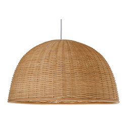 "Kouboo - ""Wicker Dome Pendant Light, Natural"" - Add a little natural light to your interiors with this pendant. Made entirely of wicker, it diffuses the light for a warm, ambient glow."