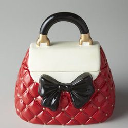"Horchow - Red and White Bow Purse Cookie Jar - Carefully detailed and cleverly disguised as a handbag, this delightful cookie jar is a fun and fashionable addition to kitchen decor. Handcrafted of ceramic. Hand painted. Hand wash. Approximately 6.5""W x 8.5""D x 8.75""T. Imported."