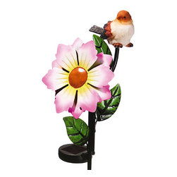 Evergreen - Pink Bird & Bloom Solar Color-Change Garden Stake - Add floral pep to your flowerbed with this garden stake that features darling accents that softly glow after dark.   5.75'' W x 27.5'' H x 4'' D Metal / plastic Imported